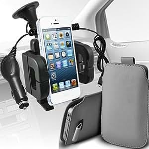 LG Mini G2 Protección Premium de PU tracción Piel Tab Slip In Pouch Pocket Cordón Piel Con 12v USB Micro Cargador para el coche y universal de la succión del parabrisas del coche Vent Holder Cuna Grey por Spyrox