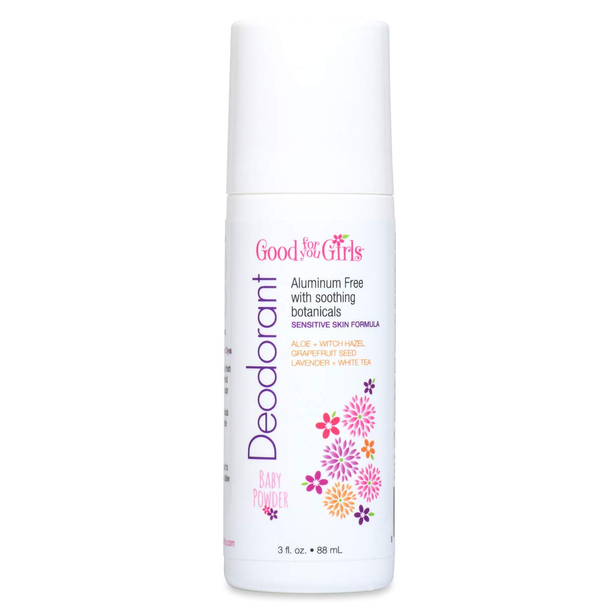 Good For You Girls Aluminum Free Natural Deodorant (3 fl. oz) Kids, Teens, Tween, Vegan (Baby Powder Scent)