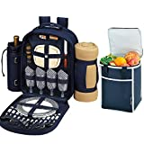 Picnic at Ascot Original Equipped Backpack for 4 with Blanket - Extra Bonus Cooler - Designed & Assembled in California - Navy
