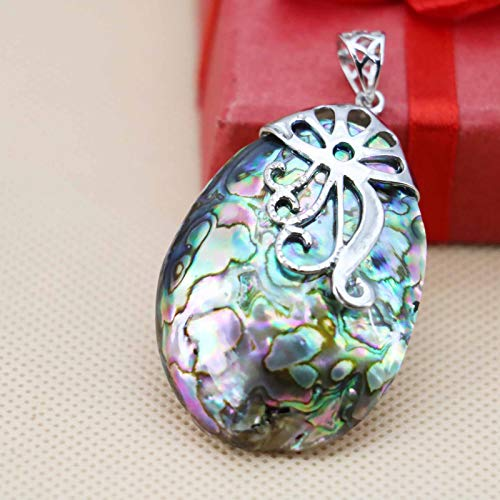 (Na Na nubngern Rectangle Genuine Handmade Abalone Shell Carved Shell Silver Necklace Pendants)