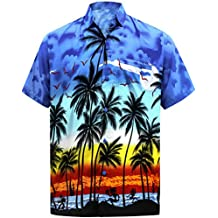Men's Regular Fit Camp Palm tree Short Sleeves Button Down Hawaiian Shirts aloha
