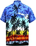 LA LEELA Men's Aloha Summer Tropical Hawaiian Beach Shirt Swimwear XXL Blue_W140