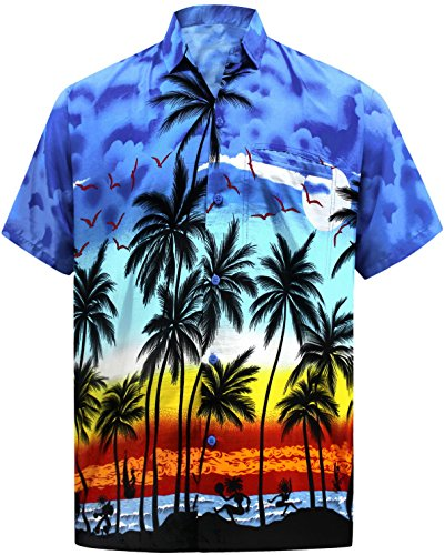 Island Aloha Shirt - La Leela Hawaiian Print Mens Aloha Beach Shirt for Men XL Blue