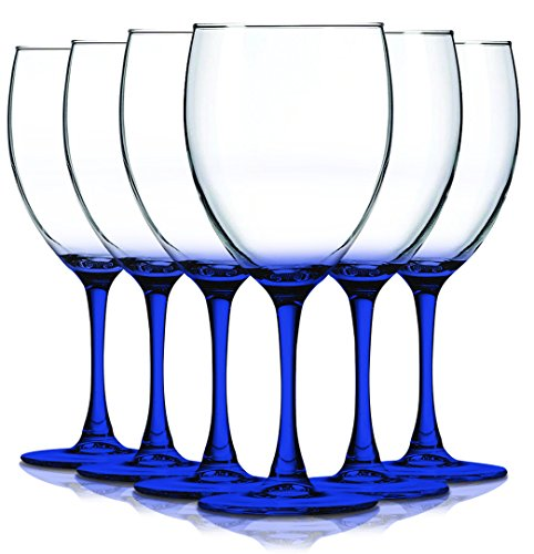 (Cobalt Blue Nuance Accent Stem 10 oz Wine Glasses - Set of 6 by TableTop King - Additional Vibrant Colors Available)