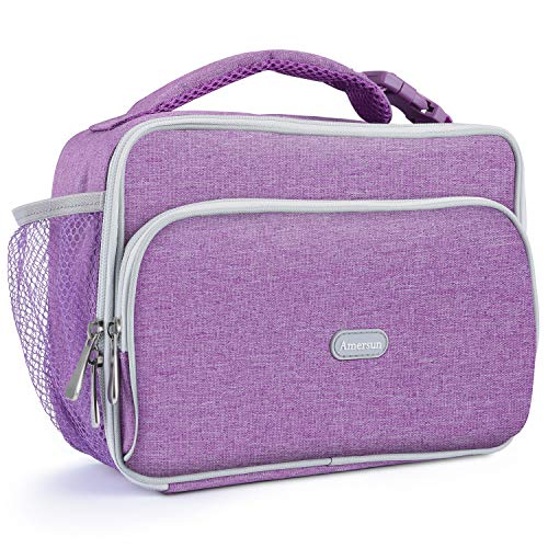Amersun Kids Lunch Bag, Durable Insulated School Lunch Bag with Padded Liner Keeps Food Hot Cold Longer Time,Small Water-resistant Thermal Travel Office Lunch Cooler for Teen Girls-2 Pockets, Purple ()