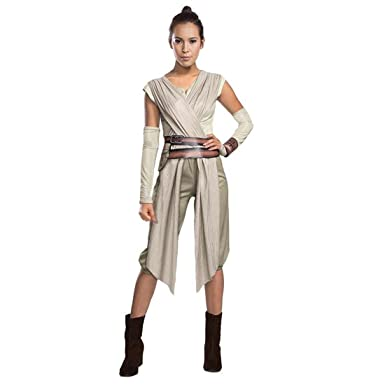 Costume Rey femme Déguisement femmes Star Wars Tenue de jedi carnaval pour  adulte habits La Guerre des étoiles feminin vêtements défilé fantaisie  tenue de