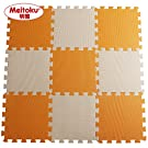 "Meitoku Solid EVA foam puzzle mat /18Tiles Orange and Beige/Each Tiles 12""x12"" 3/8""Thick"