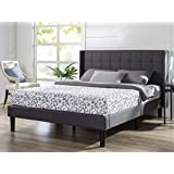 Zinus Upholstered Square Stitched Wingback Platform Bed, Queen