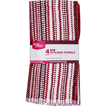 Better Homes And Gardens Kitchen Towels 4 Pack (Red U0026 White)