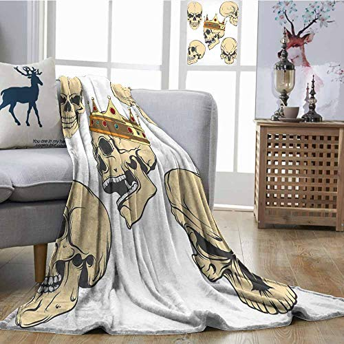 SONGDAYONE Warm Blanket Skull Easy to Carry Skulls Different Expressions Evil Face Crowned Death Monster Halloween Print Sand Brown Yellow W51 -