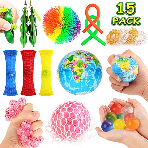 JVIGUE Sensory Toys Set- 15 Pack Stress Relief Hand Fidget Toys for Kids and Adults, Sensory Therapy Toys for ADHD Autism Stress Anxiety