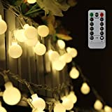 Tomshine Globe String Lights 0.6W 10M 80LEDs Fairy Lights 8 Modes Waterproof Battery Powered with Remote Control for Party Living Room Bedroom Patio Garde