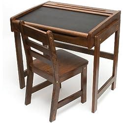 Lipper International 554WN Child's Chalkboard Desk and Chair, 2-Piece Set, Walnut Finish