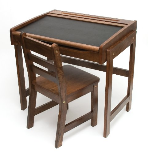 Lipper International 554WN Child's Chalkboard Desk and Chair, 2-Piece Set, Walnut Finish