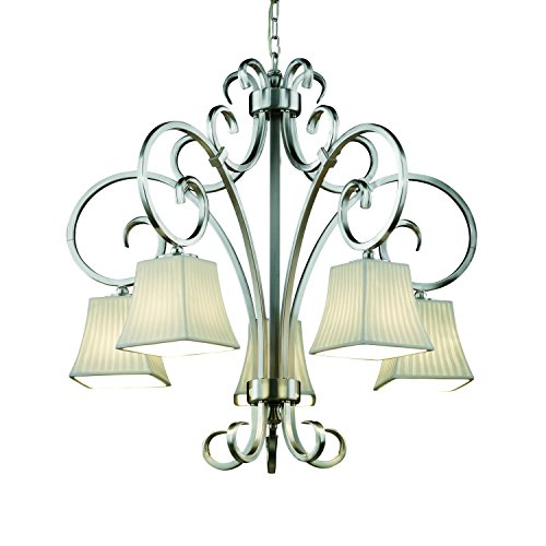 Justice Design Group Limoges 5-Light Chandelier - Brushed Nickel Finish with Waterfall Translucent Porcelain Shade