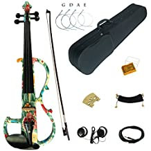Kinglos 4/4 Green Pink Flower Colored Solid Wood Advanced Electric / Silent Violin Kit with Ebony Fittings Full Size (DSG1102)