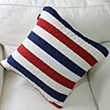 American style cotton fabric hug pillowcase/ double-sided striped waist pillow case/ linen/ sofa cushions-A 45x45cm(18x18inch)VersionA offers
