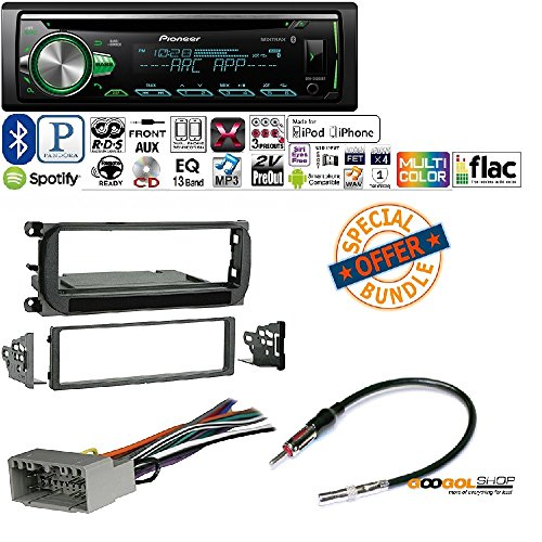 PIONEER 1DIN CAR MP3 CD STEREO W/ USB AUX-IN BLUETOOTH & PANDORA+ W/ Radio Stereo Install Dash Kit + wire harness And antenna adapter for Jeep Grand Cherokee (02-04), Liberty (02-07), Wrangler (03-06) (Pioneer Card Stereo)
