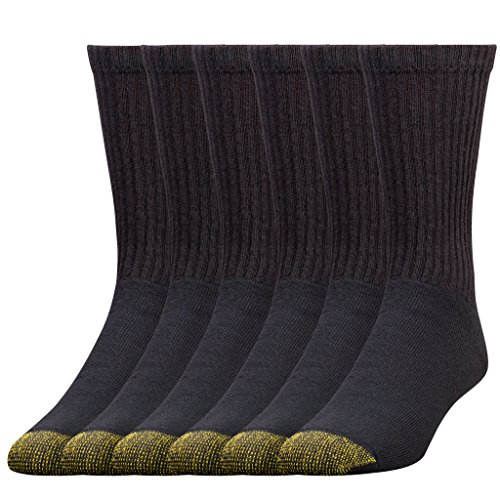Cotton Black Crew Sport Socks - Gold Toe Men's 6-Pack Cotton Crew Athletic Sock, Black, 10-13 (Shoe Size 6-12.5)