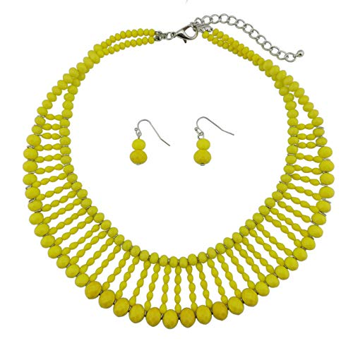 Jewelry Beaded Yellow Set (Bocar Multi Rows Collar Bib Soiree Costume Handmade Necklace Set Statement Strand Crystal Necklace for Women (NK-10600) (Elfin Yellow))