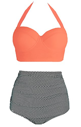 Amourri Vintage Polka Underwire High Waisted Swimsuit Bathing Suits Bikini,Orange+stripe,US 4-6=Tag Size M (Full Tops Coverage Bikini)