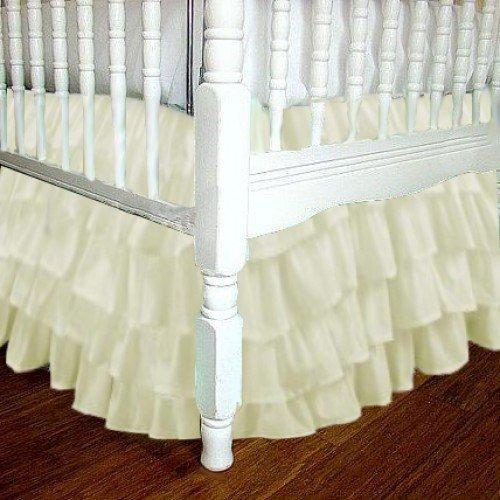 Linen Oval Drop - Chiffon Cream Ruffle Layered Crib Skirt 16 Inch Drop 3 Sided
