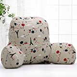 KiKi Monkey Original Reading Pillow Cotton Cushion Bed Rest Pillows Back Support Cushions For Car Sofa Chair Cushions 2 Size Available (L (65x40x26cm), Eiffel Tower)