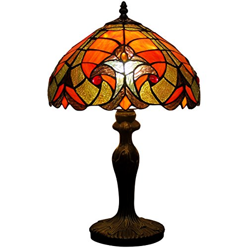 Tiffany style LIAISON table lamp light S160R series 18 inch tall RED shade E26 (Antique Tiffany Table Lamp)