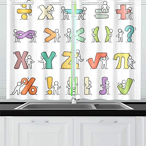 VNASKL Cartoon Icons Sketch Working Little Kitchen Curtains Window Curtain Tiers for Cafe Bath Laundry Living Room Bedroom 26x39inch 2pieces