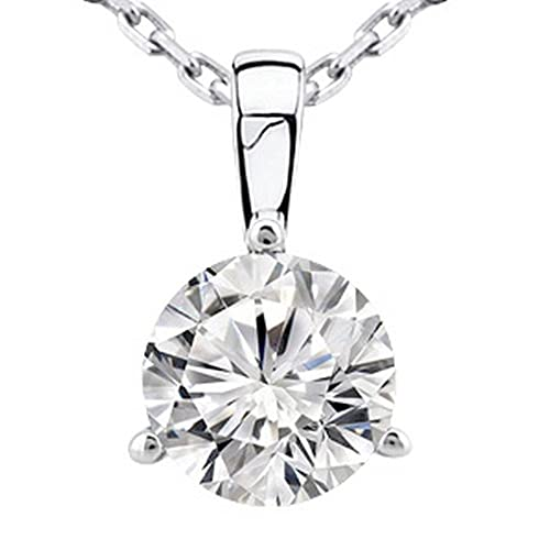 Chandni Jewelers 0.5 1 2 Carat 14K White Gold Round Diamond Solitaire Pendant Necklace 3 Prong J-K Color I2 Clarity