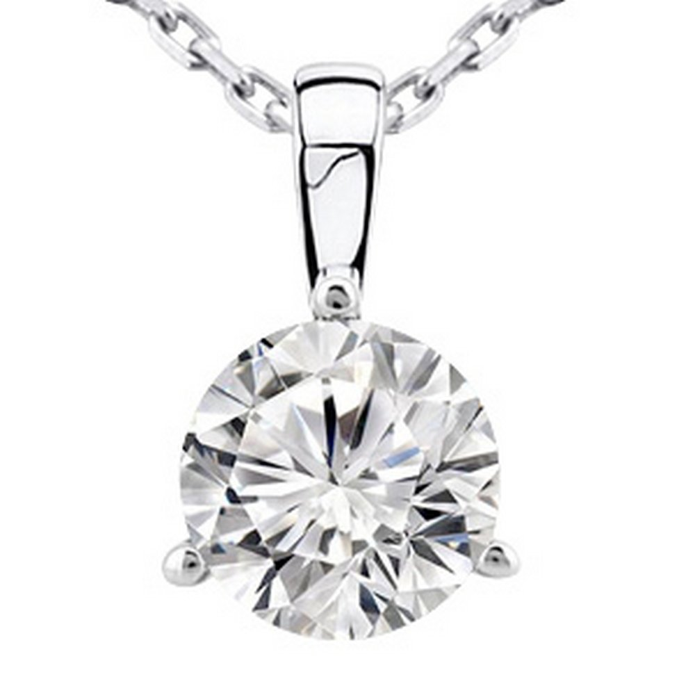 Near 1 Carat 14K White Gold Round Diamond Solitaire Pendant Necklace 3 Prong H-I Color SI2-I1 Clarity