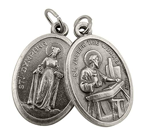 Catholic Patron Saint Medals Silver Toned Base Saint Dymphna with St Joseph the Worker Medal, 1 Inch, Set of 2 (Joseph Medallion)