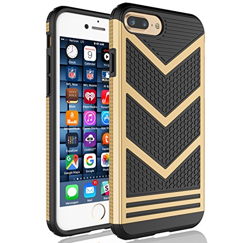 Tekcoo for iPhone 8 Plus Case, Tekcoo for iPhone 7 Plus Sturdy Case, [Varmor] Shock Absorbing [Champagne Gold] Bumper Hard Slim Luxury Cases Cover [Scratch Proof] Plastic Shell + TPU Rubber Inner