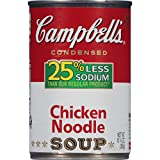 Campbell's 25% Less Sodium Condensed Soup, Chicken Noodle, 10.75 Ounce (Pack of 12) (Packaging May Vary)