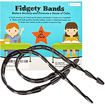 Fidget Bands for Bouncy Feet and Restless Legs - Fits Chairs and Desks (Up to 36 In) - Latex-Free Ideal for Those With ADD, ADHD, OCD, Anxiety (2-Pack)
