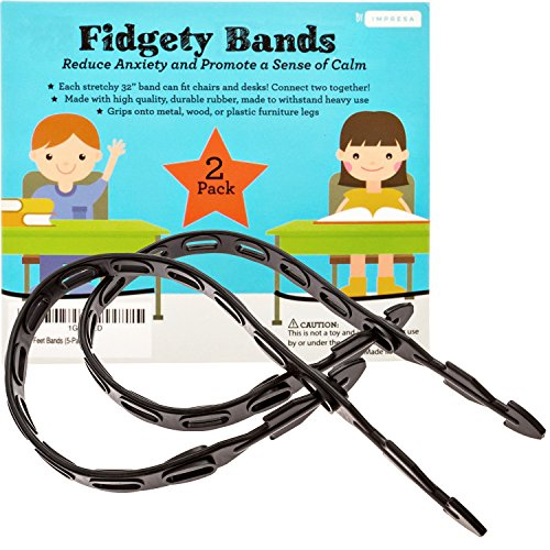 Fidget Bands for Bouncy Feet and Restless Legs - Fits Chairs and Desks (Up to 36 In) - Latex-Free Ideal for Those With ADD, ADHD, OCD, Anxiety (2-Pack) (Leg Student Desk)