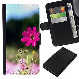 KLONGSHOP // Tirón de la caja Cartera de cuero con ranuras para tarjetas - Purple Flower Valley - HTC DESIRE 816 //