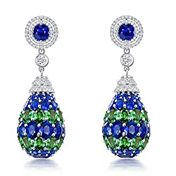 White Gold Sapphire Emerald Diamond Drop Earring