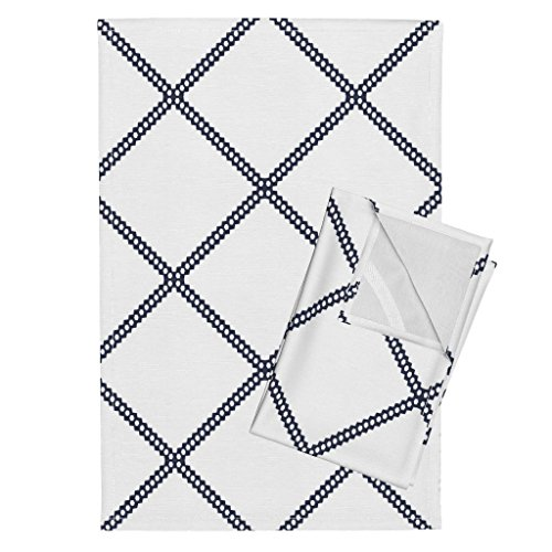 Roostery Navy Diamond Diamon Diamond Navy Geometric Duralee Kravet Blue Diamonds Tea Towels Navy Diamond Geometric Fabric by Jenlats Set of 2 Linen Cotton Tea Towels ()
