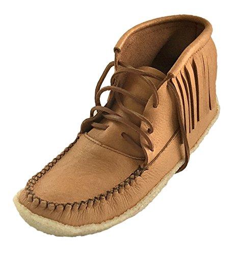 Bastien Industries Men's Fringe Moose Hide Leather Crepe Sole Ankle Moccasin Boots (10) Maple Tan
