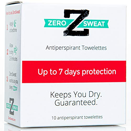 ZeroSweat Antiperspirant Wipes Deodorant | Clinical Strength Hyperhidrosis Treatment - Reduces Armpit Sweat - 10 Wipes