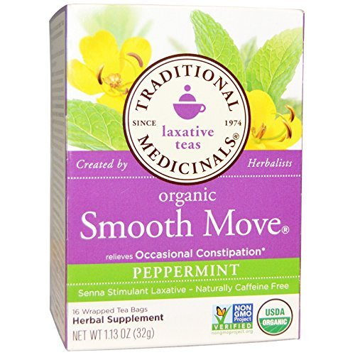 Traditional Medicinals Organic Smooth Move Peppermint Herbal Tea - 16 Tea Bags (Pack of 2) (Tea Chocolate Smooth Move)