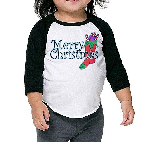 Bpbzz Infant Merry Christmas Socks Raglan T Shirts Baseball 3/4 Sleeves Tee 5-6 Toddler