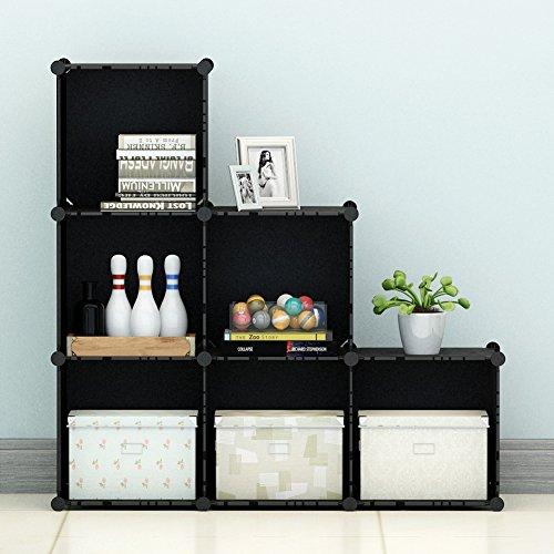 KOUSI 3-tier Storage Closet Cabinet Shelf, 6 Cube Organizer Bookcase Black