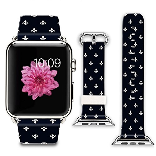 (iWatch Leather Band 42mm, Band with Adapter for Apple Watch Strap 42mm - Simple fleur de lis)