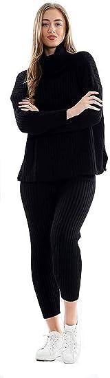 Nuevas Damas de Punto Chunky High Roll Neck Loungewear Top ...