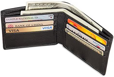 Augus Man's Genuine Leather Wallet Bifold RFID Blocking Wallet