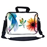 Meffort Inc 13 13.3 inch Neoprene Laptop Bag Sleeve with Extra Side Pocket, Soft Carrying Handle and Removable Shoulder Strap for 12″ to 13.3″ Size Notebook Computer – Flower Butterfly Design, Bags Central