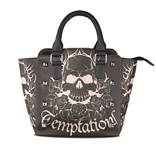 Womens Flower Skull Leather Handbags Purses Shoulder Tote Satchel ()