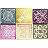 Vardhman Plastic Rangoli Stencil, 12x12-inch, Assorted - Pack of 6